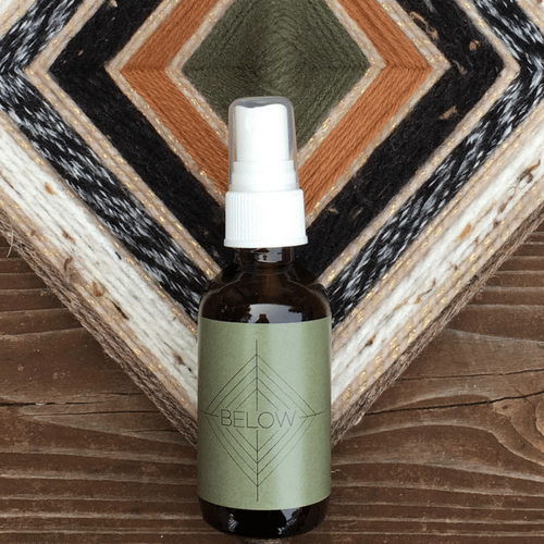Below Spirit Mist All over face, body + linen spray by Godseye Oils, Natalie Rose Silva Chaput